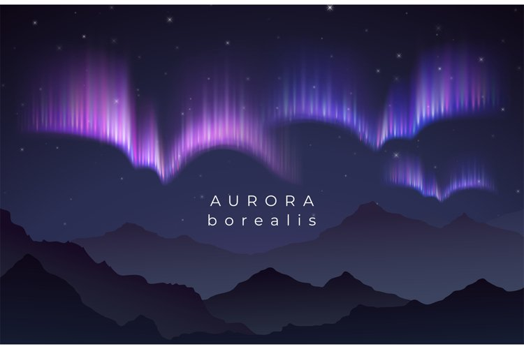 Aurora borealis vector illustration. Northern night starry s example image 1