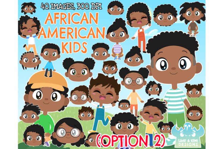 African American Kids Option 2 Clipart