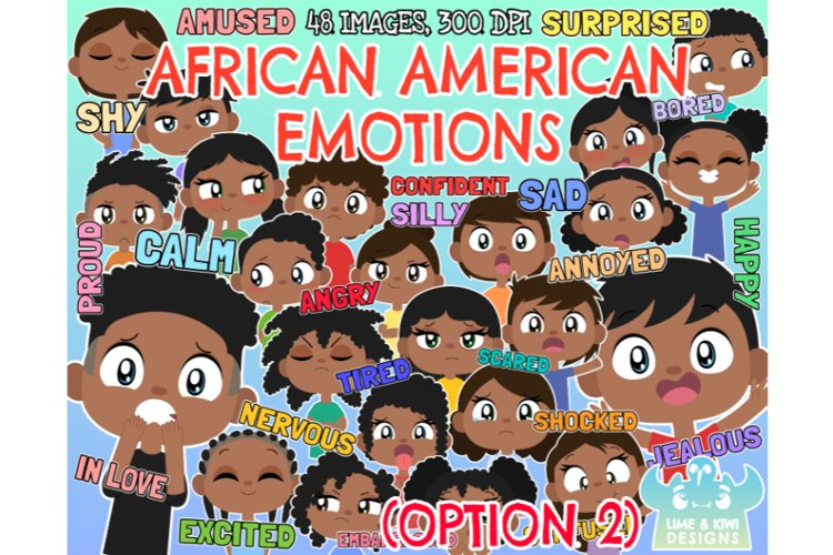 African American Kids Emotions Option 2 Clipart