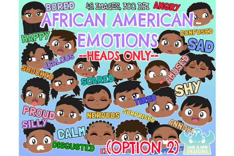 African American Kids Emotions - Faces Option 2 Clipart