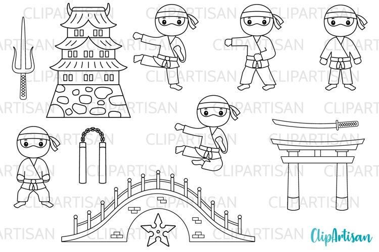 Ninja Clipart, Cute Ninjas Digital Stamps example image 1