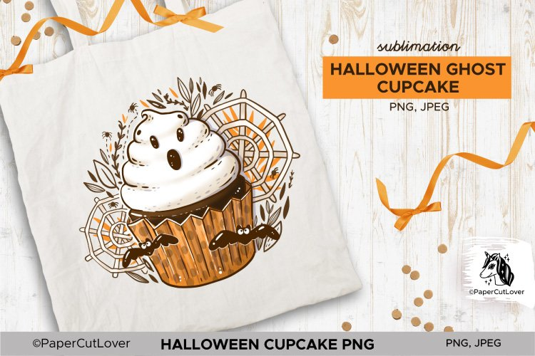 Halloween Cupcake With White Cream Ghost PNG Sublimation example image 1