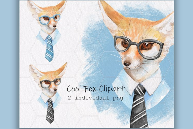 Cool fox. Watercolor clip art example image 1