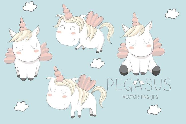 cute Pegasus illustrations. Set example
