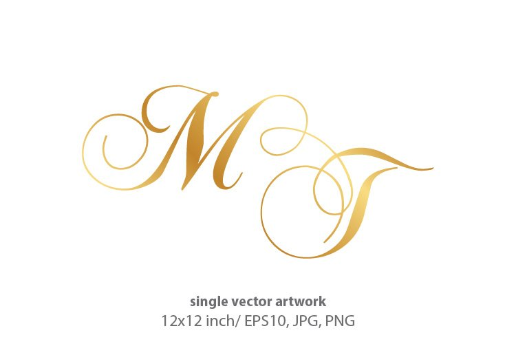 Calligraphic golden monogram letters M and T example image 1