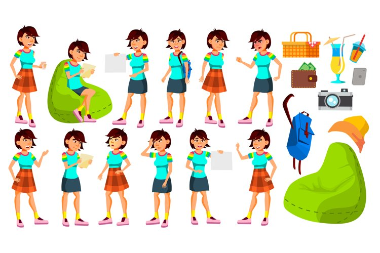 Asian Teen Girl Poses Set Vector. Funny example image 1
