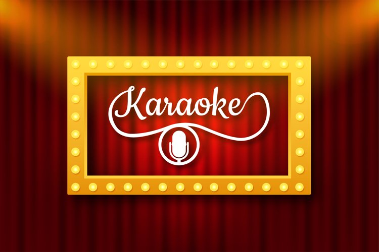The microphone icon. Abstract banner with karaoke. Celebrati example image 1