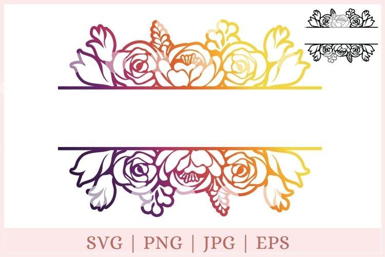 Flower Monogram SVG, Split Monogram, Flower Border SVG