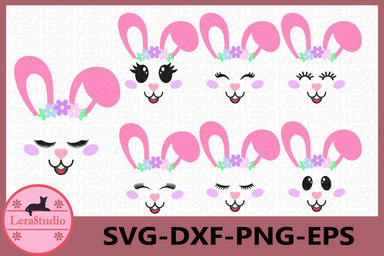Bunny Easter SVG, Bunny Face Clipart, Bunny Shirt, Bunny Cut example image 1