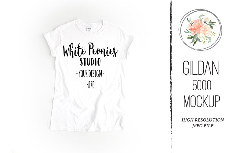 White GILDAN 5000 Shirt Mockup example image 1