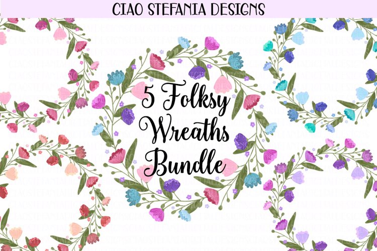 Folksy Flower Wreaths Clipart Illustration Bundle