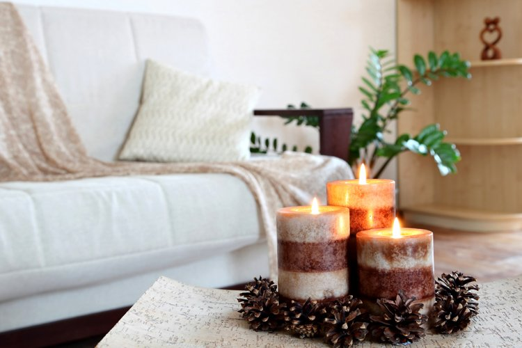 Three burning candles. Home decor. Living room decoration. example image 1