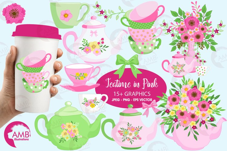 Teacups and Tea Pots, Alice in Wonderland cliparts, graphics, illustrations AMB-1960