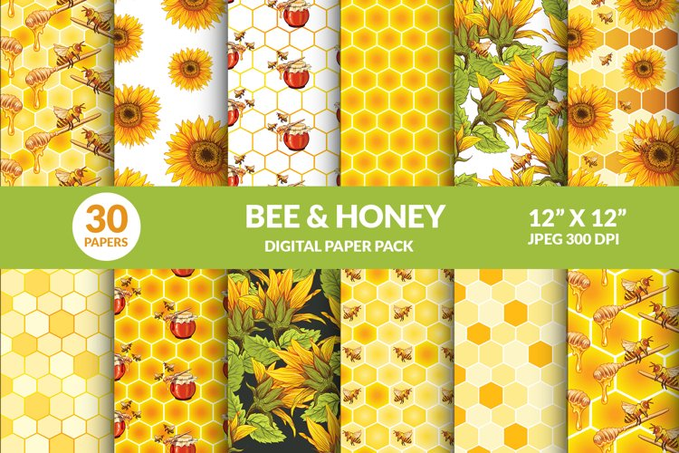 Bee And Honey Pot Digital Papers