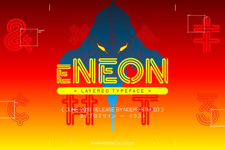 eNeon Layered Font example image 1