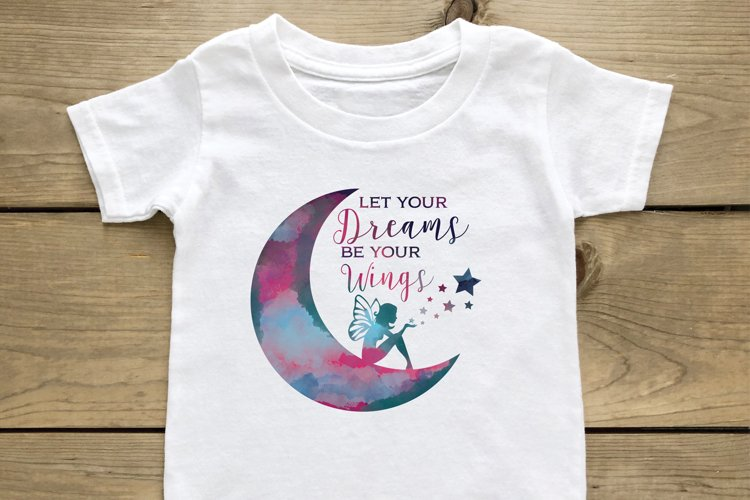 Crescent Moon and Fairy Let your Dreams be your Wings svg example image 1