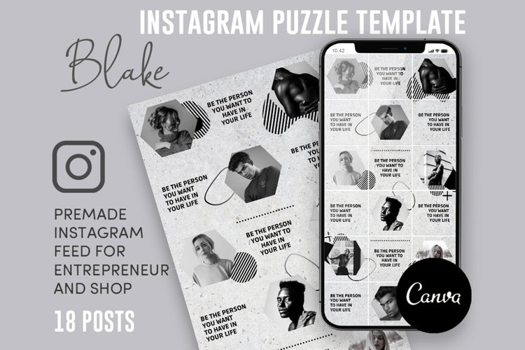 Blake, Black And White Instagram Puzzle Feed, 18 Posts example image 1
