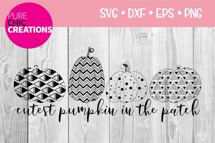 Cutest Pumpkin In The Patch|Fall Quote SVG|SVG DXF PNG EPS example image 1