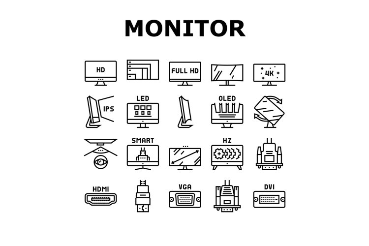 Computer Pc Monitor Collection Icons Set Vector example image 1