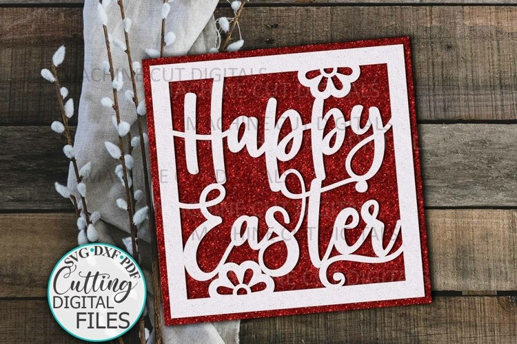Happy Easter cut out card svg paper cut template