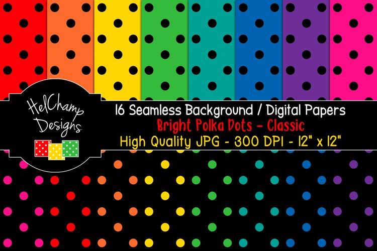16 seamless Digital Papers - Bright Polka Dots Classic HC024
