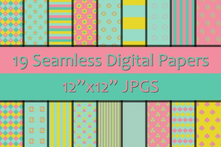 Shades of Pink/Blue/Yellow 1 Seamless Digital Papers example image 1