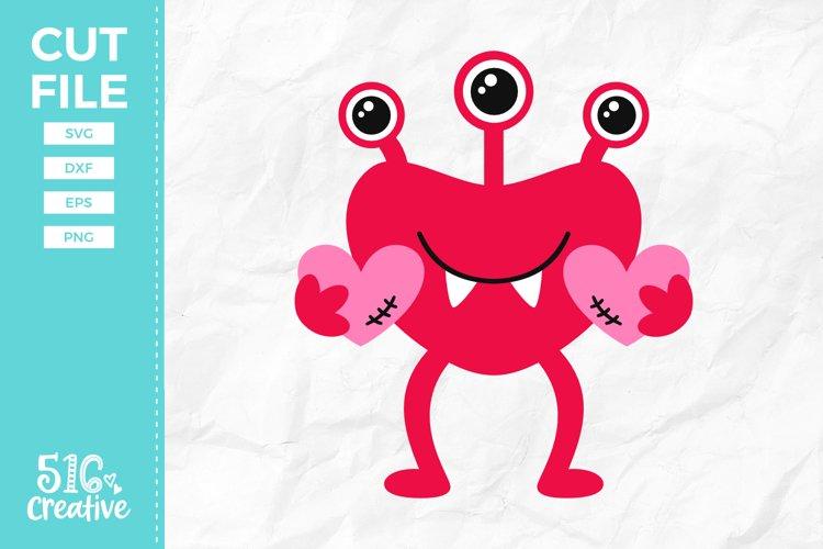 Valentine Monster SVG DXF EPS PNG example image 1