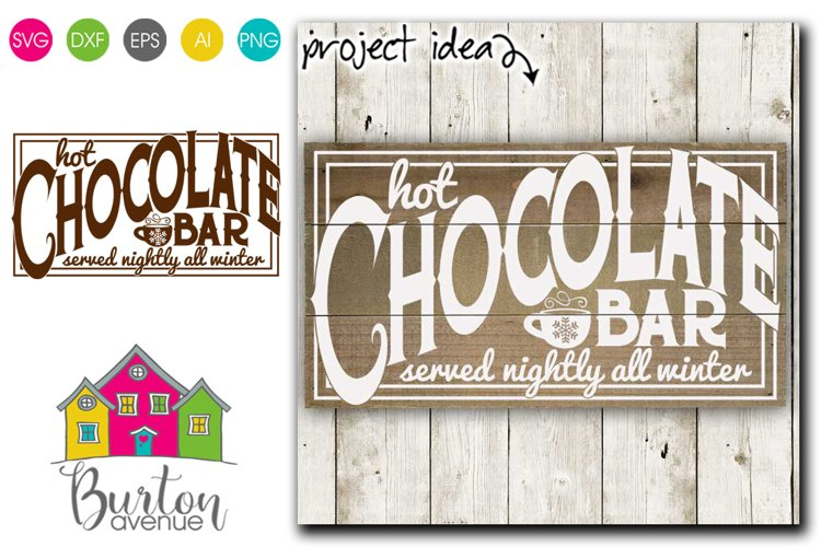 Hot Chocolate Bar Winter SVG File example image 1
