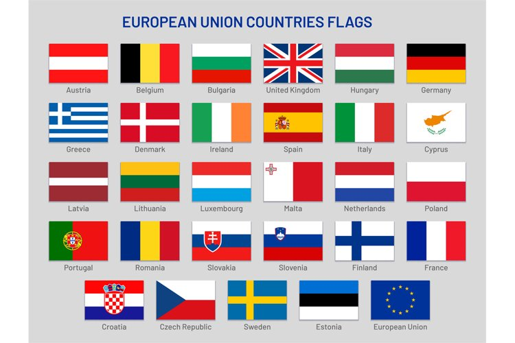 European Union countries flags. Europe travel states, EU mem example image 1