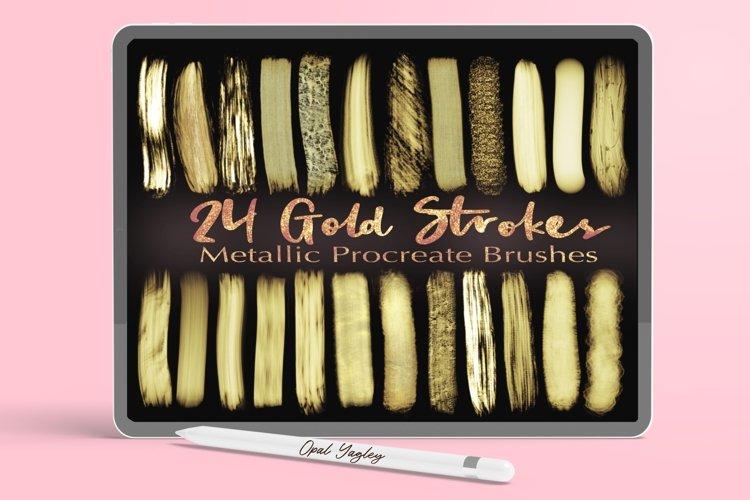 Gold Strokes Procreate Brushes - Metallic Glitter Brush Set example image 1