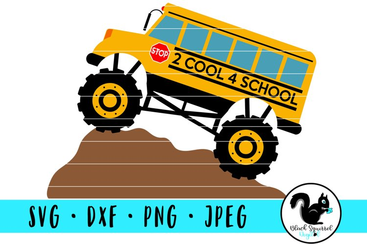 Monster Truck 2 Cool 4 School, School Bus With Dirt Mound example image 1