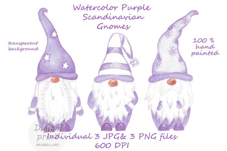 Watercolor Scandinavian purple gnome clipart