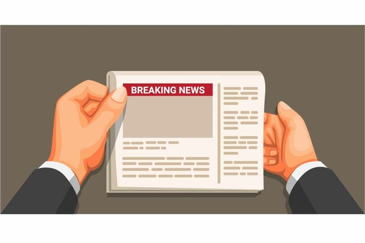 Businessman hand holding newspaper. breaking news vector example image 1