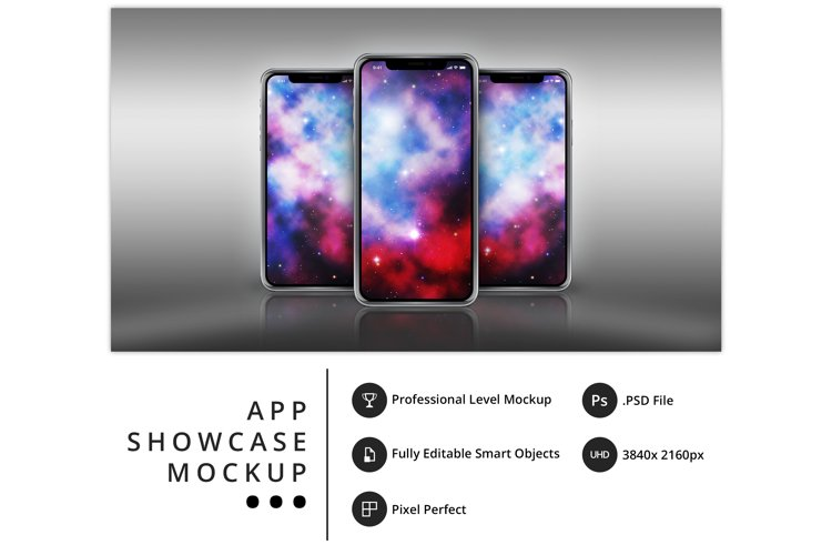 psd mockup of three iPhone 11 Pro on a metallic surface example image 1