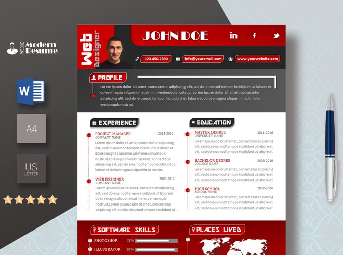 Resume Template / CV Template Cover Letter example image 1