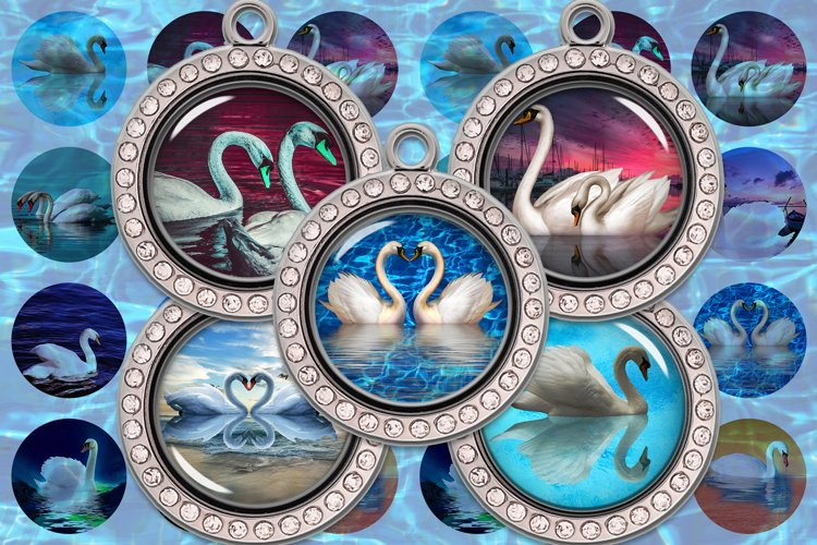 Swan Digital Collage Sheet,Swan Images,White Swan,Black Swan example image 1