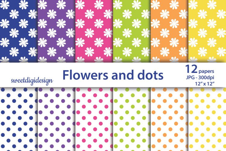 White flower and dots seamless pattern, scrapbook paper example image 1