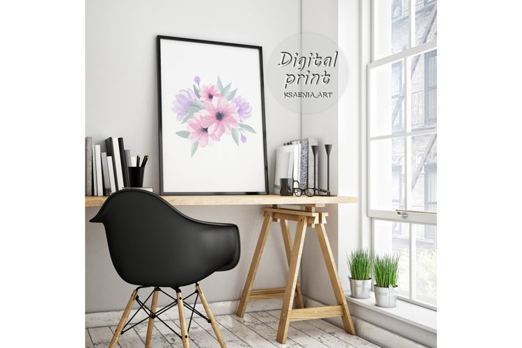Spring Watercolor Clipart, Flowers Print, Hand Painted Bloom