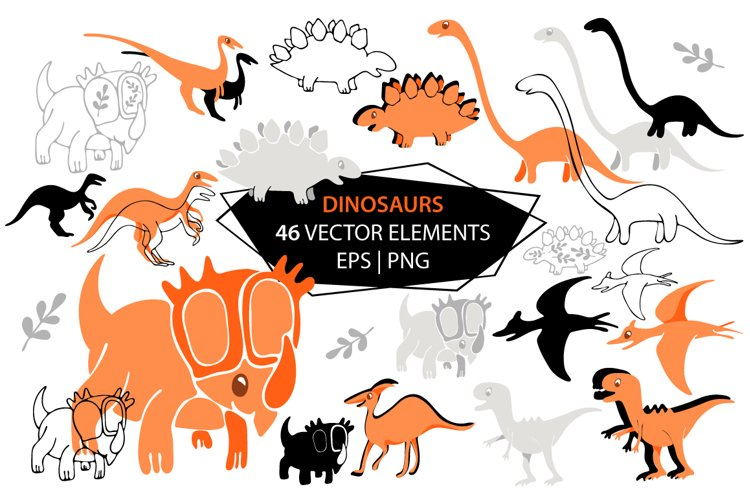Dinosaur / Vector elements / EPS / PNG example image 1
