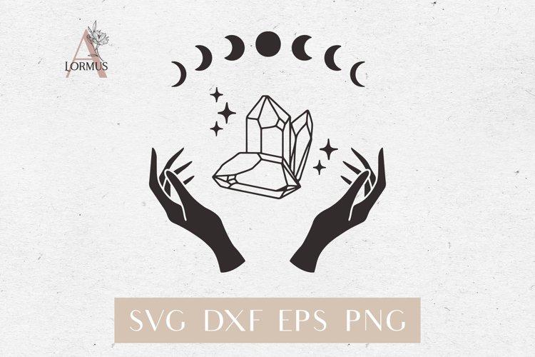 Witch hands svg, Crystal svg, Crescent moon svg, Magic gem example image 1