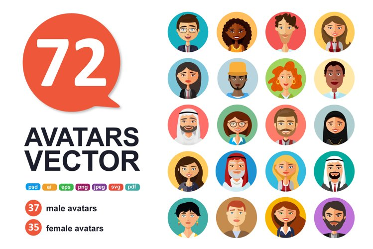 72 Avatar icons vector people