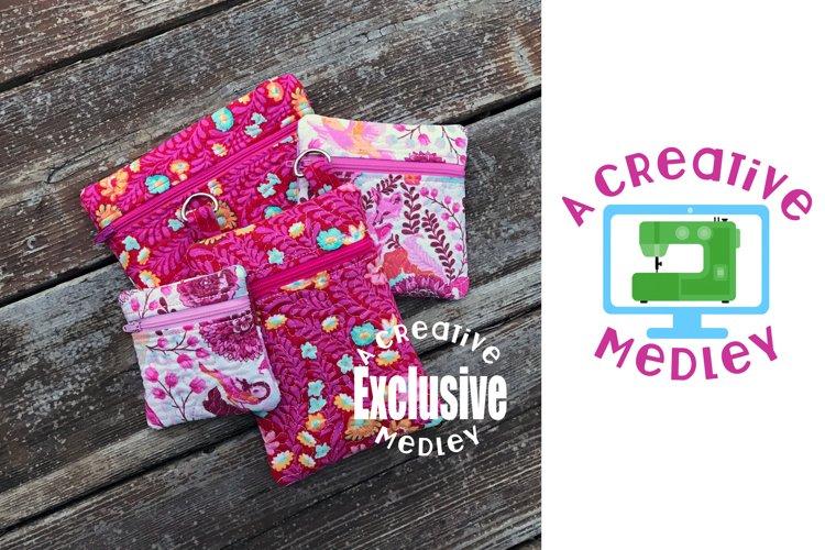 Stipple Zipper Bag In the Hoop Set 4×4 and 5×7 hoops 4 bags example image 1