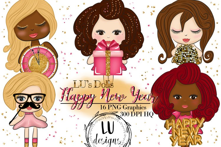 New Year Clipart, New Year Graphics, Party Cute Dolls