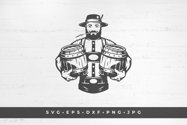 Male brewer holding two kegs of beer. vector illustration