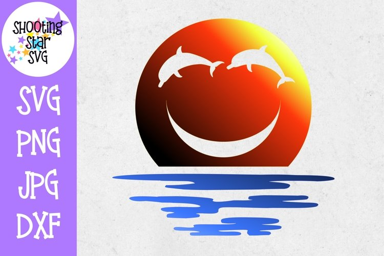 Dolphin Smiley Face Water SVG - Ocean SVG - Sunset SVG