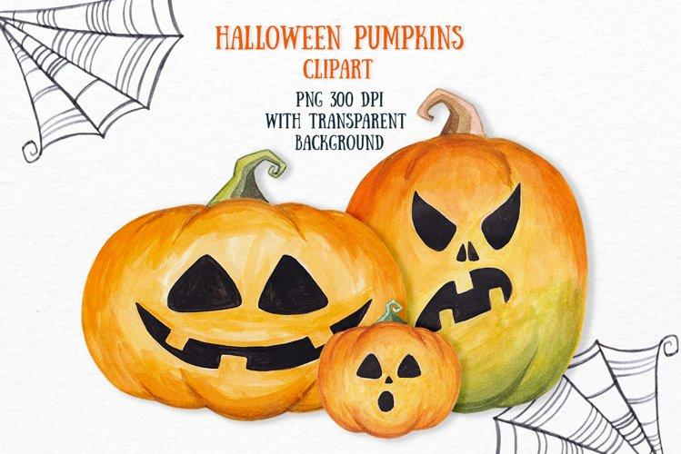 Halloween Pumpkin clipart Watercolor pumpkin set example image 1