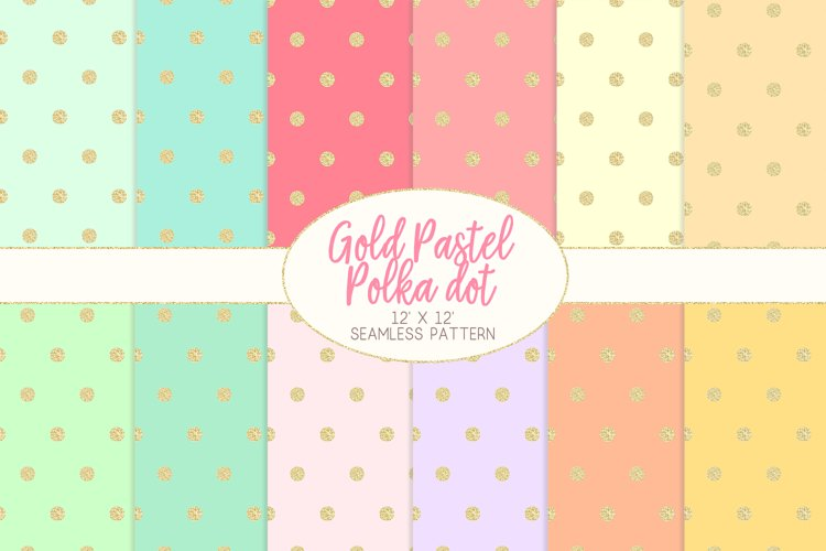 Gold Pastel Polka Dot Pattern Digital Papers example image 1