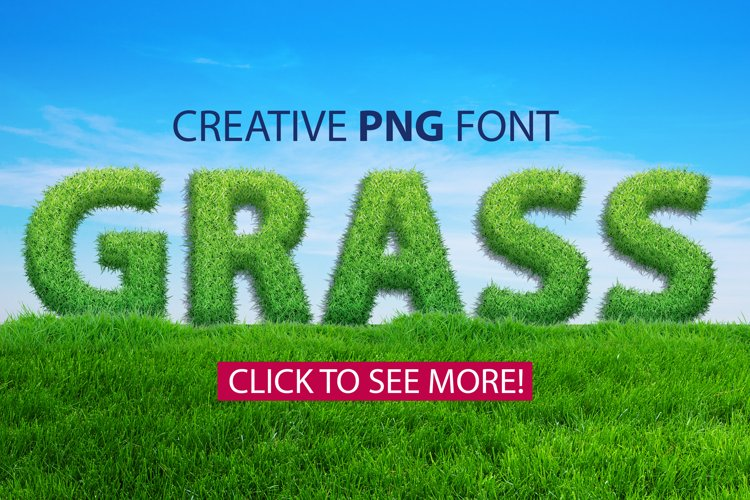 Grass spring summer alphabet. PNG graphic eco font example image 1