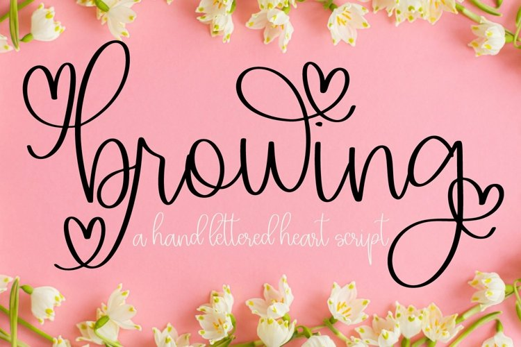 Web Font Browing - A Script With Hearts & Swooshes example image 1