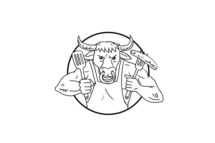 Longhorn Bull Holding Barbecue Sausage Drawing Black and Whi example image 1